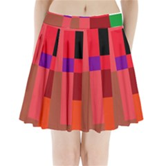 Colorful Abstraction Pleated Mini Mesh Skirt