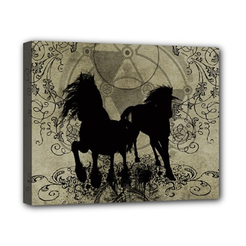 Wonderful Black Horses, With Floral Elements, Silhouette Canvas 10  X 8