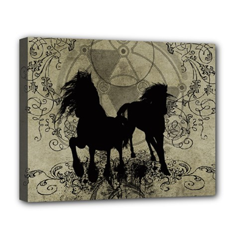 Wonderful Black Horses, With Floral Elements, Silhouette Deluxe Canvas 20  x 16