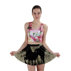 Wonderful Black Horses, With Floral Elements, Silhouette Mini Skirt