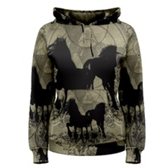 Wonderful Black Horses, With Floral Elements, Silhouette Women s Pullover Hoodie