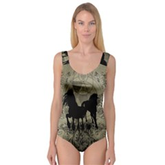 Wonderful Black Horses, With Floral Elements, Silhouette Princess Tank Leotard