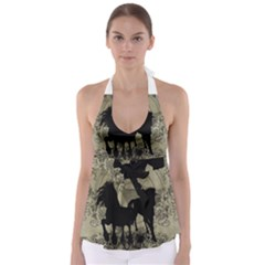 Wonderful Black Horses, With Floral Elements, Silhouette Babydoll Tankini Top