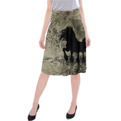 Wonderful Black Horses, With Floral Elements, Silhouette Midi Beach Skirt
