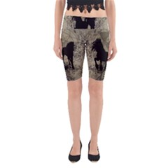 Wonderful Black Horses, With Floral Elements, Silhouette Yoga Cropped Leggings