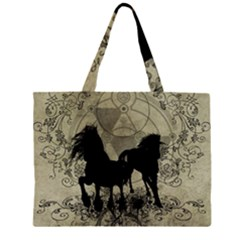 Wonderful Black Horses, With Floral Elements, Silhouette Large Tote Bag