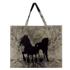Wonderful Black Horses, With Floral Elements, Silhouette Zipper Large Tote Bag