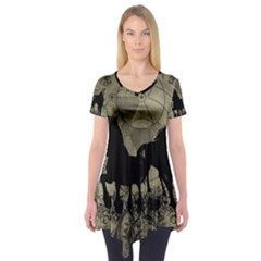 Wonderful Black Horses, With Floral Elements, Silhouette Short Sleeve Tunic