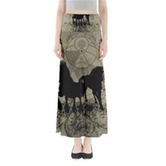 Wonderful Black Horses, With Floral Elements, Silhouette Maxi Skirts