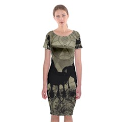 Wonderful Black Horses, With Floral Elements, Silhouette Classic Short Sleeve Midi Dress