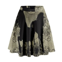 Wonderful Black Horses, With Floral Elements, Silhouette High Waist Skirt