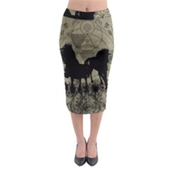 Wonderful Black Horses, With Floral Elements, Silhouette Midi Pencil Skirt