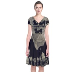 Wonderful Black Horses, With Floral Elements, Silhouette Short Sleeve Front Wrap Dress