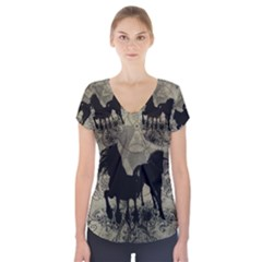 Wonderful Black Horses, With Floral Elements, Silhouette Short Sleeve Front Detail Top