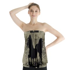 Wonderful Black Horses, With Floral Elements, Silhouette Strapless Top