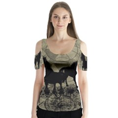 Wonderful Black Horses, With Floral Elements, Silhouette Butterfly Sleeve Cutout Tee