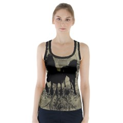 Wonderful Black Horses, With Floral Elements, Silhouette Racer Back Sports Top