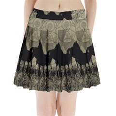 Wonderful Black Horses, With Floral Elements, Silhouette Pleated Mini Mesh Skirt