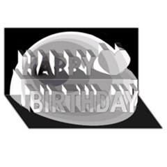Gray abstraction Happy Birthday 3D Greeting Card (8x4)