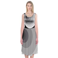 Gray Abstraction Midi Sleeveless Dress