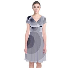 Gray abstraction Short Sleeve Front Wrap Dress