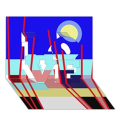 Abstract landscape LOVE 3D Greeting Card (7x5)