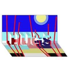Abstract landscape HUGS 3D Greeting Card (8x4)