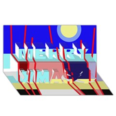 Abstract landscape Merry Xmas 3D Greeting Card (8x4)