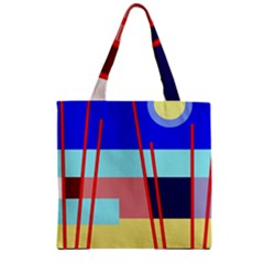 Abstract landscape Zipper Grocery Tote Bag