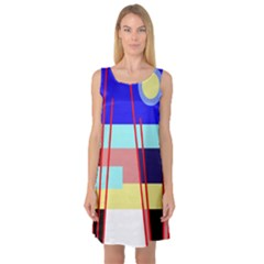 Abstract landscape Sleeveless Satin Nightdress