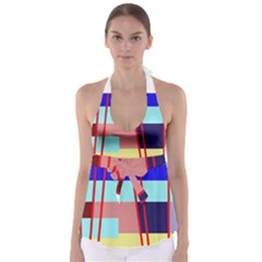 Abstract landscape Babydoll Tankini Top