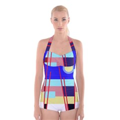 Abstract landscape Boyleg Halter Swimsuit