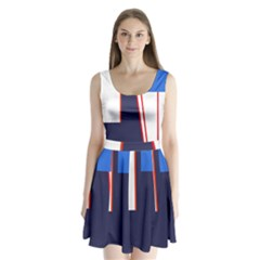 Decorative Abstraction Split Back Mini Dress