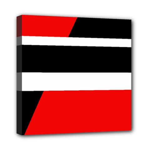 Red, white and black abstraction Mini Canvas 8  x 8