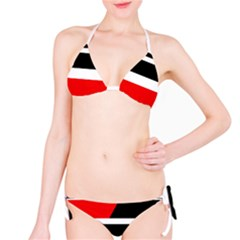 Red, white and black abstraction Bikini Set