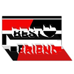 Red, white and black abstraction Best Friends 3D Greeting Card (8x4)