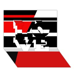 Red, white and black abstraction LOVE 3D Greeting Card (7x5)