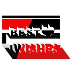Red, white and black abstraction Best Wish 3D Greeting Card (8x4)