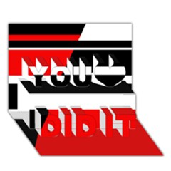 Red, white and black abstraction You Did It 3D Greeting Card (7x5)