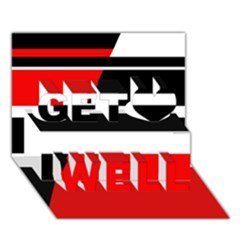 Red, white and black abstraction Get Well 3D Greeting Card (7x5)