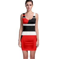 Red, white and black abstraction Sleeveless Bodycon Dress