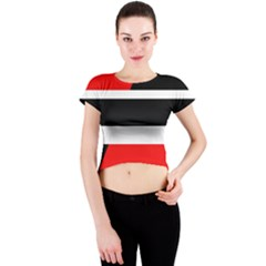 Red, white and black abstraction Crew Neck Crop Top