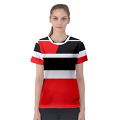 Red, white and black abstraction Women s Sport Mesh Tee