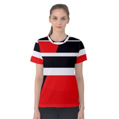 Red, white and black abstraction Women s Cotton Tee
