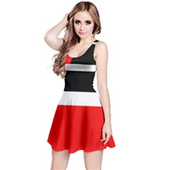 Red, white and black abstraction Reversible Sleeveless Dress