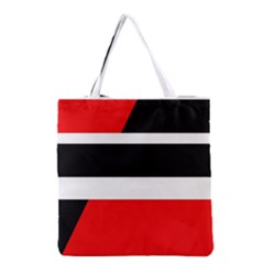 Red, White And Black Abstraction Grocery Tote Bag