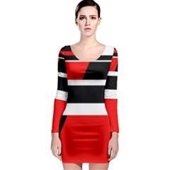 Red, white and black abstraction Long Sleeve Bodycon Dress