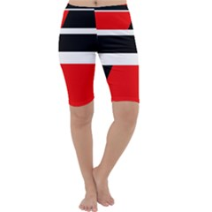 Red, white and black abstraction Cropped Leggings