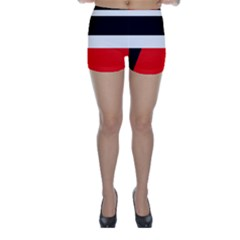 Red, white and black abstraction Skinny Shorts