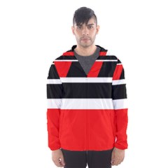 Red, white and black abstraction Hooded Wind Breaker (Men)